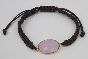 Armband Arma Ferre Makrame Guld Rose quartz